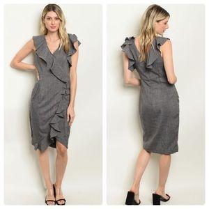Ruffle Surplice Neckline Gray Crosshatch Dress